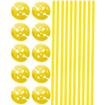 10 Stäbchen mit gelben Bällen 40cm