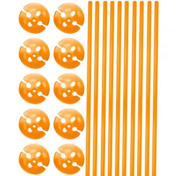 10 Ballonstangen orange 40cm