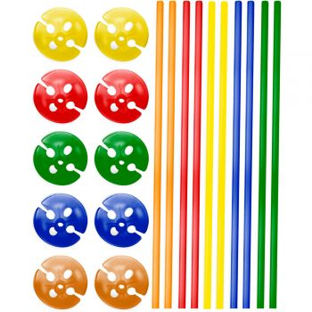 10 bunte Ballonstangen 40cm