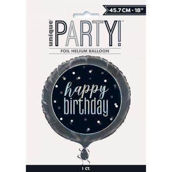 Helium-Ballon Happy birthday glitz schwarz
