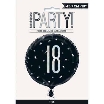 Helium-Ballon 18 glitz schwarz