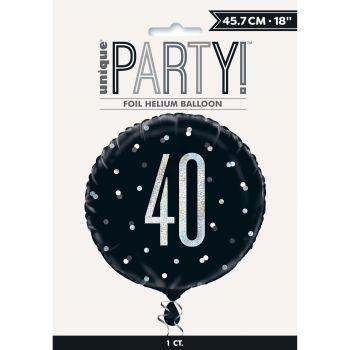 Helium-Ballon 40 glitz schwarz