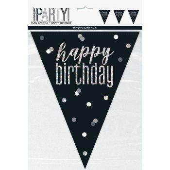 Happy birthday glitz schwarz