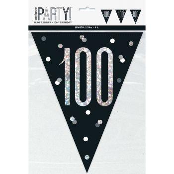 Flaggengirlande 100 glitz schwarz