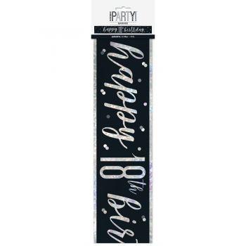 Banner Happy birthday 18 glitz black