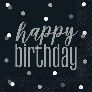16 Servietten Happy birthday glitz schwarz