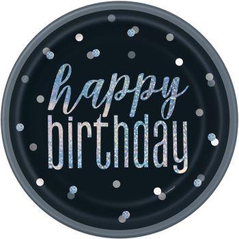 8 Teller Happy birthday glitz schwarz
