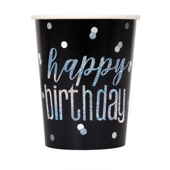 8 Becher Happy birthday glitz schwarz
