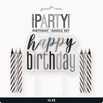 Kit 13 Kerze Happy Birthday glitz schwarz
