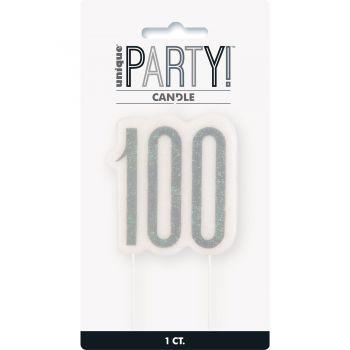 Kerze Ziffer 100 glitz schwarz