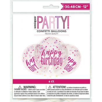 6 Ballons Konfetti Happy birthday glitz rosa