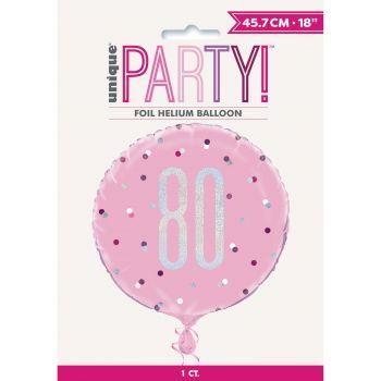 Helium-Ballon 80 glitz rosa