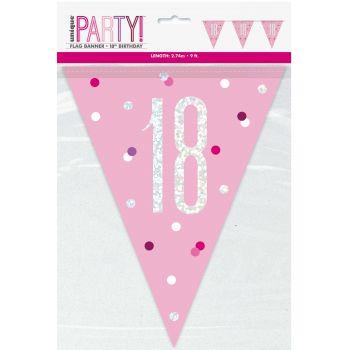 Flaggengirlande 18 glitz rosa