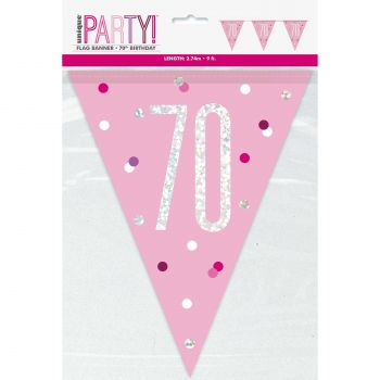Flaggengirlande 70 glitz rosa