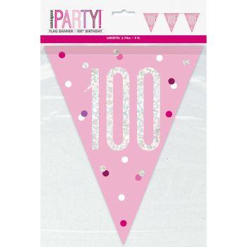 Flaggengirlande 100 glitz rosa