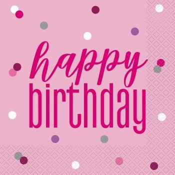 16 Servietten Happy birthday glitz rosa