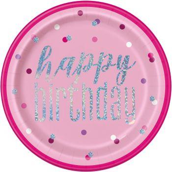 8 Teller Happy birthday glitz rosa