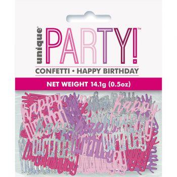 Konfetti-Metallic Happy birthday glitz rosa