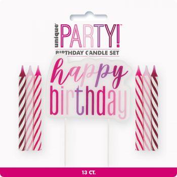 Kit 13 Kerze Happy Birthday glitz rosa