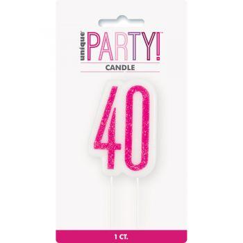 Kerze Ziffer 40 glitz rosa