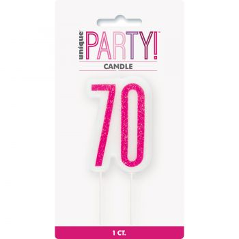 Kerze Ziffer 70 glitz rosa