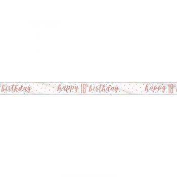 Banner Happy birthday 18 glitz gold rosa