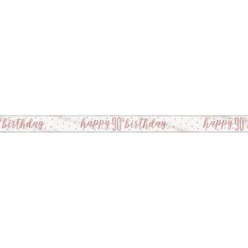 Banner Happy birthday 90 glitz gold rosa