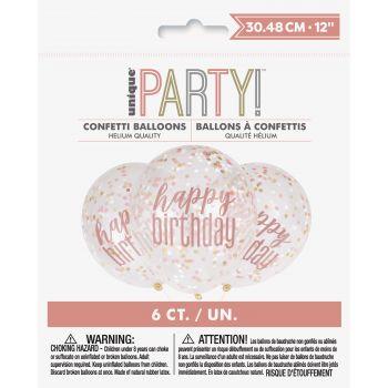 6 Ballons Konfetti Happy birthday glitz gold rosa