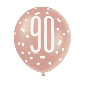 6 luftballon latex 90 glitz gold rosa