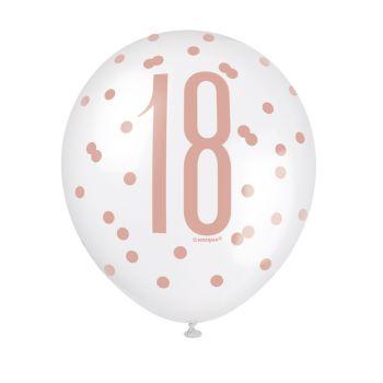6 luftballon latex 18 glitz gold rosa