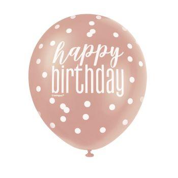 6 Ballons latex Happy birthday glitz gold rosa