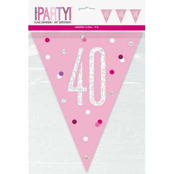 Flaggengirlande 40 glitz rosa