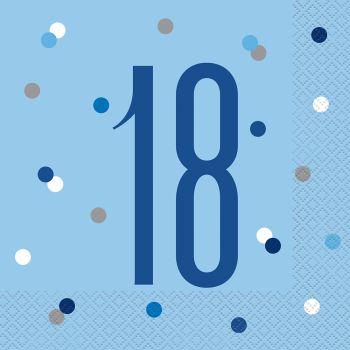 16 Servietten 18 glitz blau