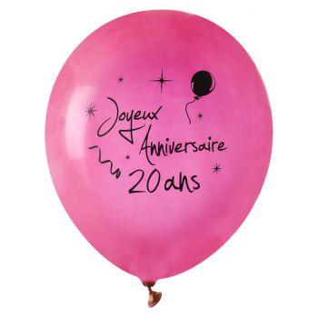 8 Ballons Happy Birthday 20 jahre fuchsia