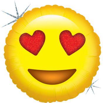 Ballon helium Emoticones love holographique
