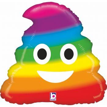Ballon helium Emoticones caca rainbow