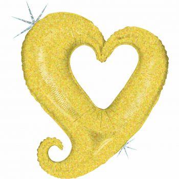 Riesiger Helium-Ballon gold-holographische Herzkette