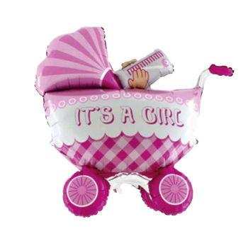Ballon helium riesen rosa Kinderwagen