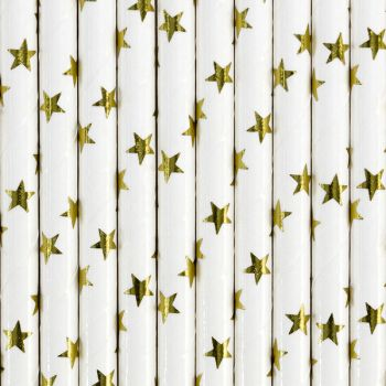10 Stroh Papier Gold Stern