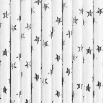 10 Stroh Papier Sterne Silber