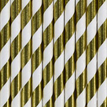 10 Gold gestreiftes Metall papier