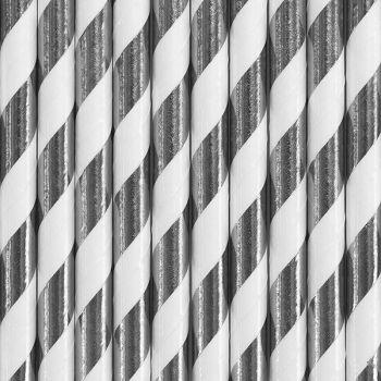 10 Silber gestreifte, metallisierte Stroh papier