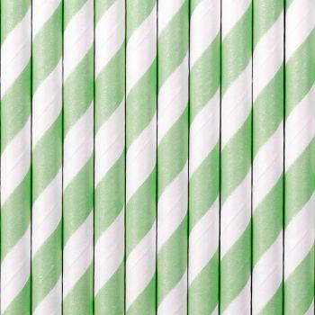10 Pailles papier gestreift mint