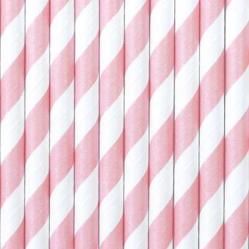 10 gestreifte Stroh papier rosa