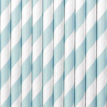 10 Strohpapier gestreift pastellblau
