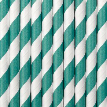 10 Grüne gestreifte Strohpapier