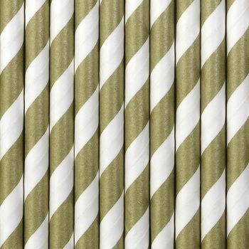 10 Strohpapier gestreift matt gold