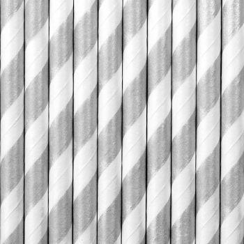 10 Strohpapier gestreift silber matt