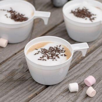 50 Weiße Kunststoff-Kaffeetassen