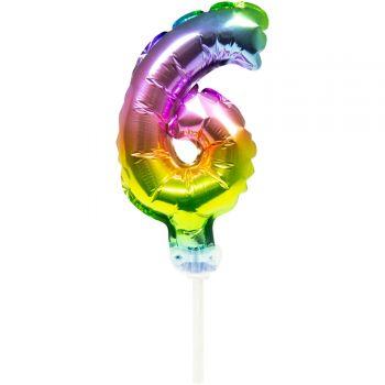 Cake Topper Ballon Regenbogen ziffer 6